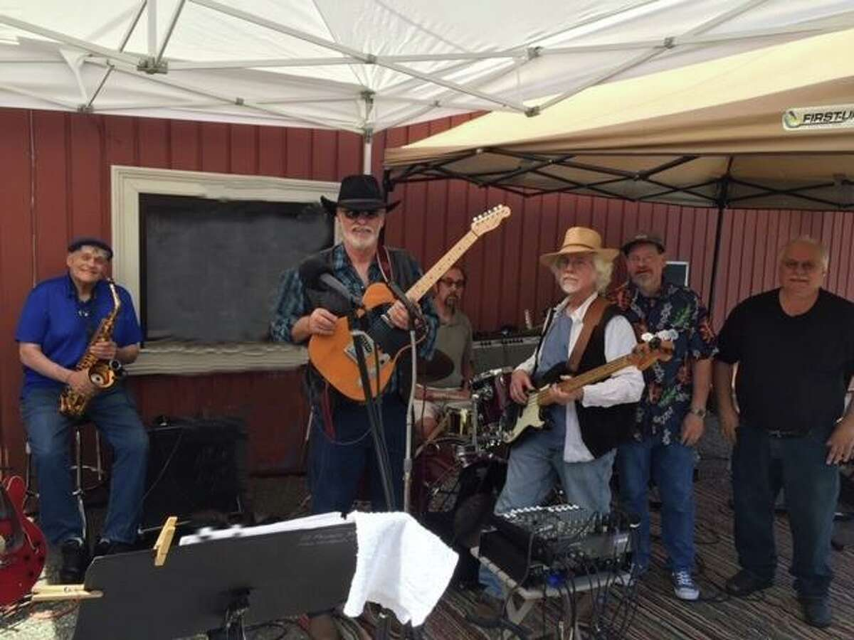 The band Buck Edwards and the Buckshots will present a free concert on the Village Green Saturday at 4 p.m. in New Milford. Band members today include, from left to right, Julio Aquila, Buck Edwards, Rich Lombardo, John Dwyer Bruce Skoog and George Mamaras.