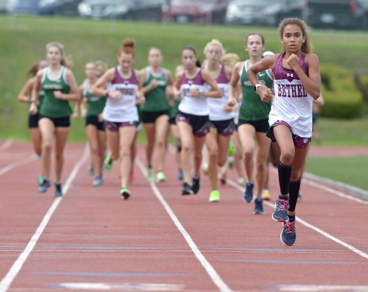 Bethel's Ava Graham finished second in a meet against New Milford and Brookfield in 2019.