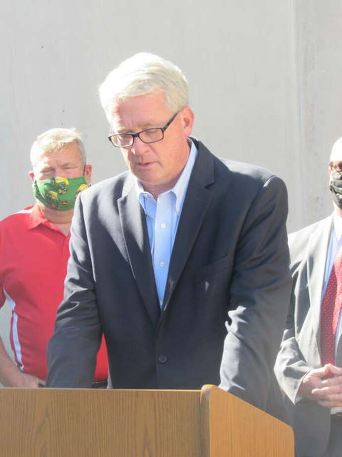 Illinois House Republican Leader Jim Durkin speaks Thursday outside the Madison County Courthouse in Edwardsville about proposed ethics and property tax reforms. He was joined by Madison County Chairman Kurt Prenzler and two Riverbend Republican legislative candidates, Amy Elik and Lisa Ciampoli.