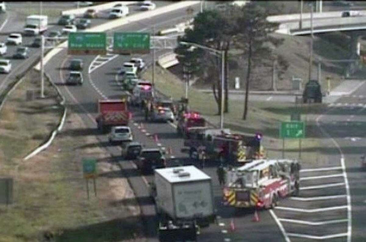 A crash on Route 8 south in Bridgeport, Conn., on Thursday, Oct. 22, 2020.