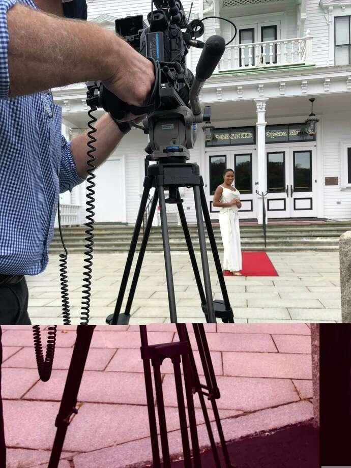 Rashidra Scott is filmed outside the Goodspeed Opera House for the show/fundraiser. Photo: Courtesy Goodspeed Musicials /