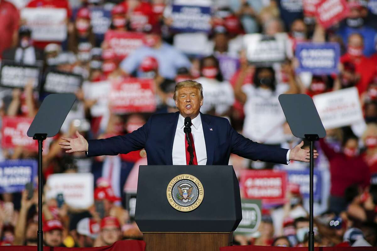 President Donald Trump, speaks at a campaign rally in Gastonia, N.C., Wednesday, Oct. 21, 2020. (AP Photo/Nell Redmond)