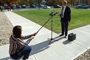 Attorney Jon Schoenhorn, who represents Michelle Troconis, talks to the media after a hearing at Farmington Regional Probate Court on the Fotis Dulos estate.Thursday afternoon, October 22, 2020, in Farmington, Conn.