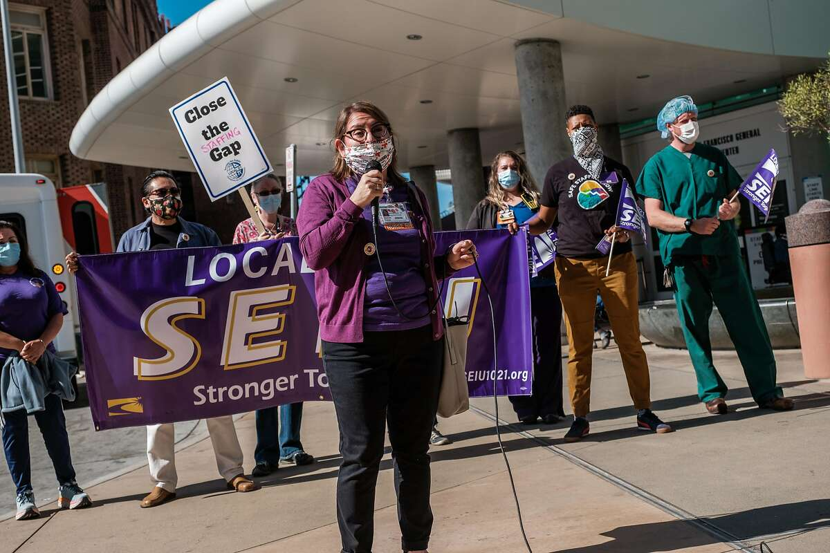 Dianna Yanez, a registered nurse, speaks during a rally at San Francisco General Hospital on Thursday.