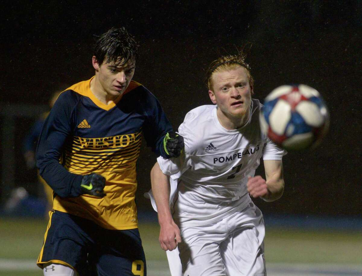Pomeraug and Weston meet in last year's SWC boys soccer championship. The league will only hold regional championships this season due to COVID-19 restrictions.