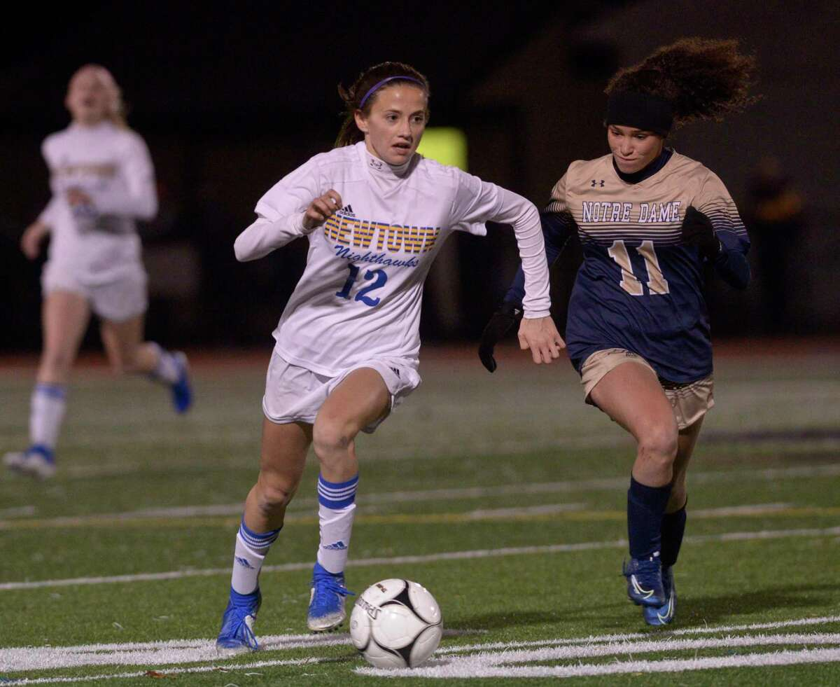 Newtown and Notre Dame meet in last year's SWC girls soccer championship. The league will only hold regional championships this season due to COVID-19 restrictions.