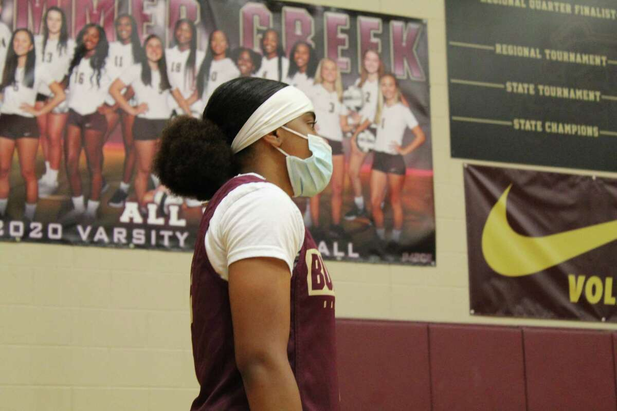 Summer Creek guard Alayia Francis warmsup before practice starts on Wednesday.