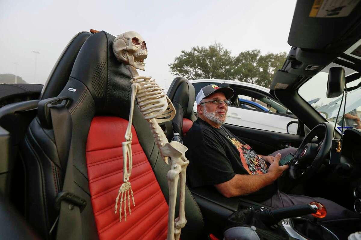 Grant Petty keeps an eye on his passenger