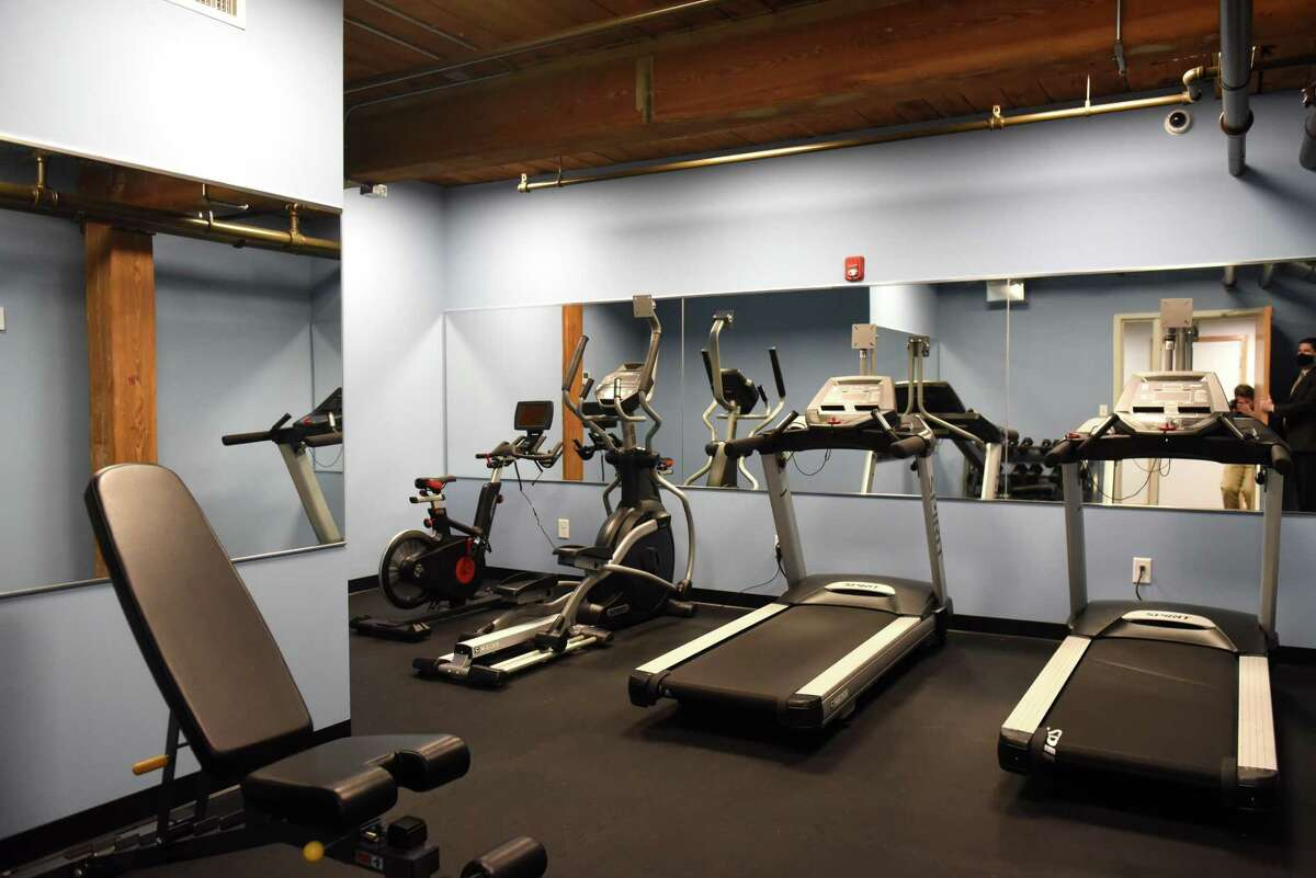 Gym at McCarthy Modern Heritage Lofts on Thursday, Oct. 22, 2020, at Monument Square in Troy, N.Y. (Will Waldron/Times Union)