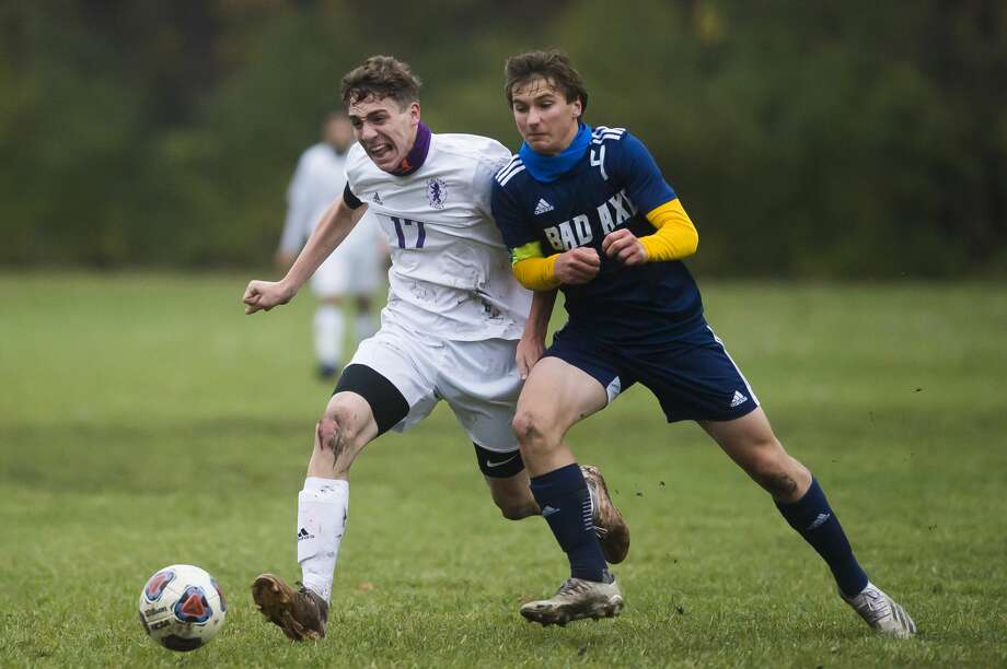 Bad Axe boys soccer team captain Nick Errer was one of 10 student-athletes from Class C and D members selected to receive scholarships through the MHSAA/Farm Bureau Insurance Scholar-Athlete Award program. Photo: Katy Kildee/Midland Daily News