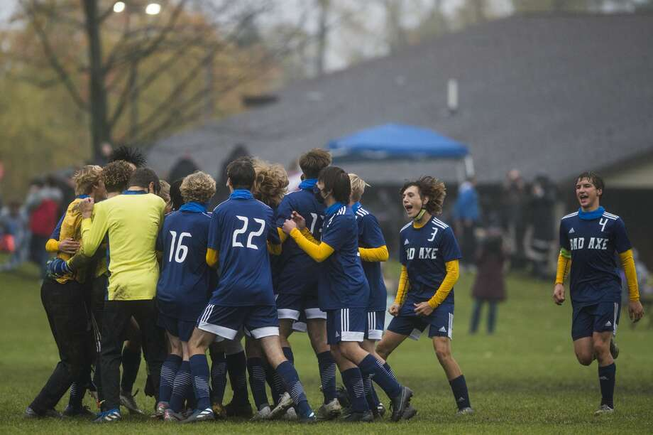 The Bad Axe boys soccer team earned a trip to the regional championship game with a 3-2 overtime win over Roscommon on Tuesday evening. Photo: Katy Kildee/Midland Daily News