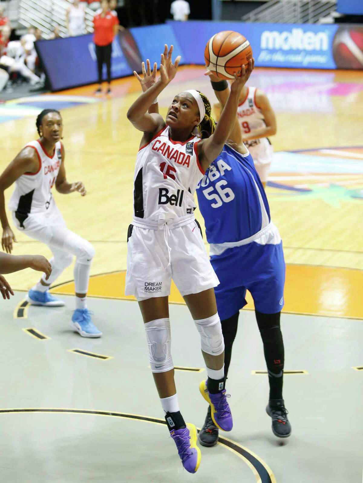 """Geno Auriemma says freshmen Aaliyah Edwards, shown here, and Nika Muhl are """"really exceptionally physical and intense and play really hard. They want to try to win every single thing that they do."""""""