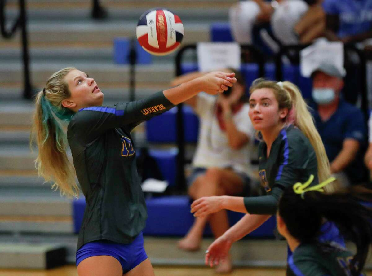 Klein setter Camryn Kling (10) returns a hit during the second set of a non-district high school volleyball match at Klein High School, Saturday, Oct. 10, 2020, in Spring.