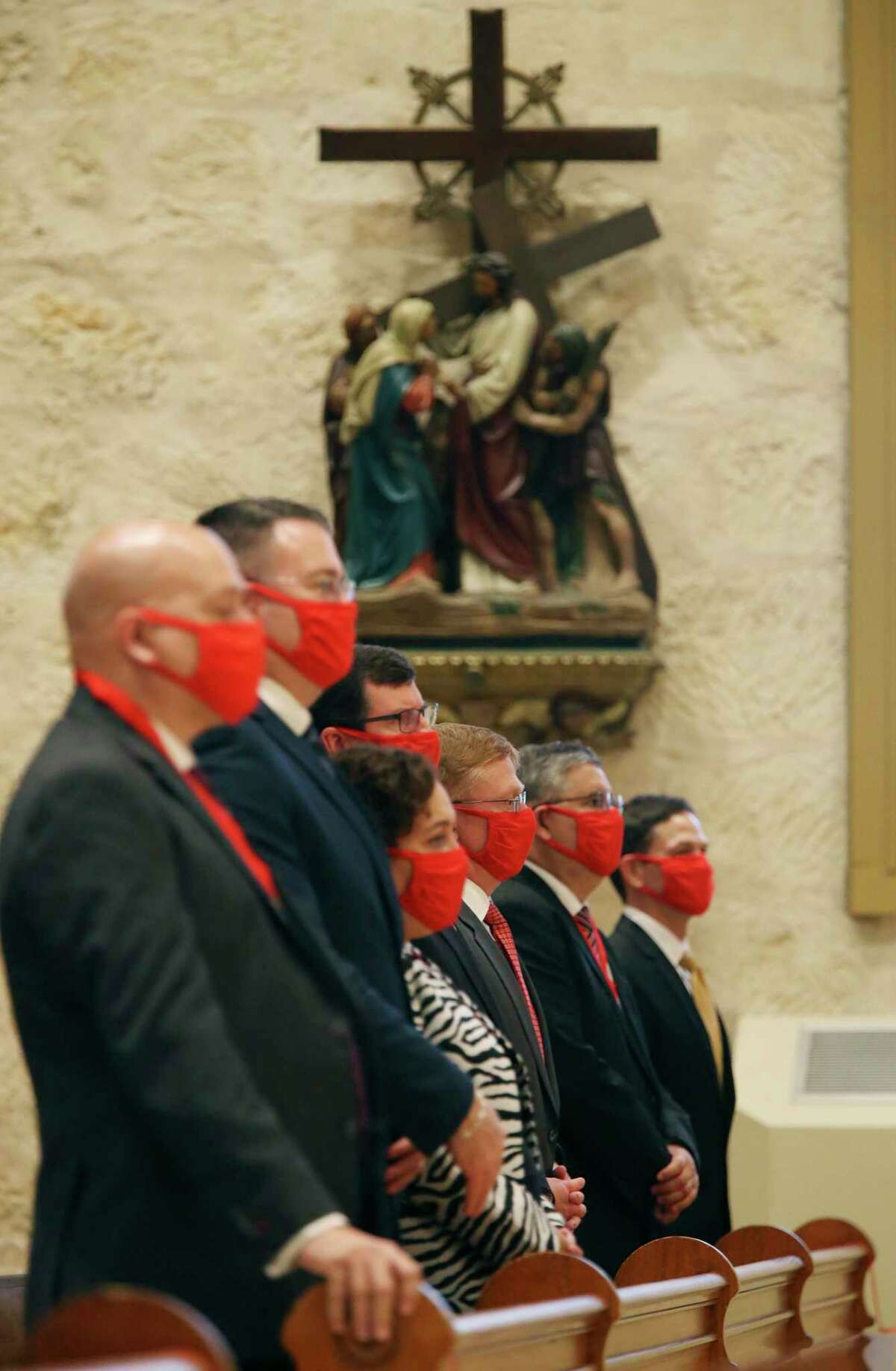 Members of the Catholic Lawyers Guild attend the Red Mass at San Fernando Cathedral on Thursday. Sponsored by the St. Mary's University School of Law, it is held each year to bless and guide the administration of justice.