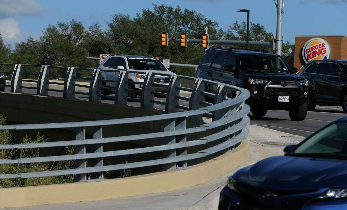 Concerned Helotes residents advocated for changes at the intersection of FM 1560 and and Riggs Road to make it safer; a cement wall that made it difficult to see around the curve was replaced with this open steel guard rail.