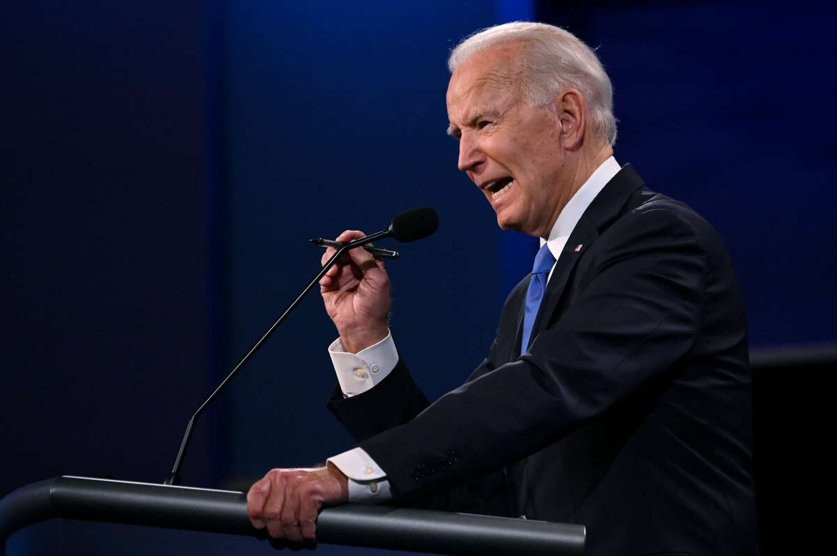 Democratic Presidential candidate and former US Vice President Joe Biden gestures as he speaks during the final presidential debate at Belmont University in Nashville, Tennessee, on October 22, 2020. (Photo by JIM WATSON / AFP) (Photo by JIM WATSON/AFP via Getty Images)