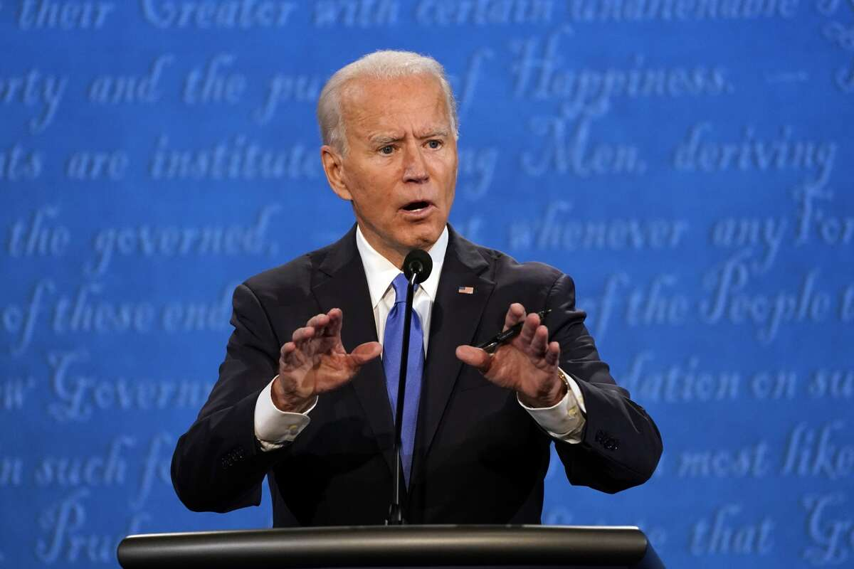 Democratic presidential candidate former Vice President Joe Biden speaks during the second and final presidential debate Thursday, Oct. 22, 2020, at Belmont University in Nashville, Tenn., with President Donald Trump. (AP Photo/Julio Cortez)