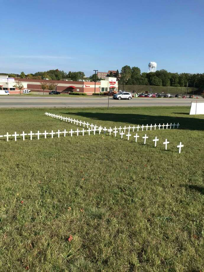 Crosses displayed at Manistee Catholic Central were provided via Right to Life of Manistee County. (Courtesy Photo/Nancy Brown)