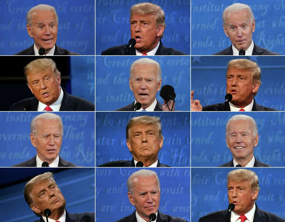 This combination of pictures created on October 22, 2020 shows US President Donald Trump and Democratic Presidential candidate and former US Vice President Joe Biden during the final presidential debate at Belmont University in Nashville, Tennessee, on October 22, 2020. Trump handling the job and coronavirus Likely voters give Trump a negative 41-55 percent job approval rating. That compares to a negative 43-53 percent job approval rating on Sept. 23. He also gets a negative 41-57 percent approval rating for his handling of the coronavirus response, which compares to a negative 42-56 percent rating on Sept. 23. Roughly 6 in 10 likely voters (59 percent) say the spread of the coronavirus is out of control in the United States, while 35 percent say it is under control.