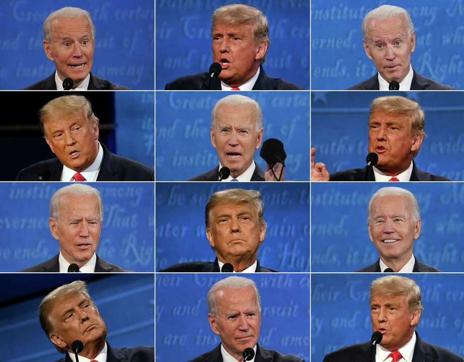 TOPSHOT - (COMBO) This combination of pictures created on October 22, 2020 shows US President Donald Trump and Democratic Presidential candidate and former US Vice President Joe Biden during the final presidential debate at Belmont University in Nashville, Tennessee, on October 22, 2020. (Photos by various sources / AFP) (Photo by BRENDAN SMIALOWSKI,JIM WATSON,MORRY GASH/POOL/AFP via Getty Images) Photo: BRENDAN SMIALOWSKI / POOL/AFP Via Getty Images / AFP or licensors