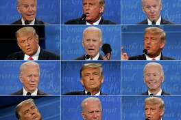 TOPSHOT - (COMBO) This combination of pictures created on October 22, 2020 shows US President Donald Trump and Democratic Presidential candidate and former US Vice President Joe Biden during the final presidential debate at Belmont University in Nashville, Tennessee, on October 22, 2020. (Photos by various sources / AFP) (Photo by BRENDAN SMIALOWSKI,JIM WATSON,MORRY GASH/POOL/AFP via Getty Images)