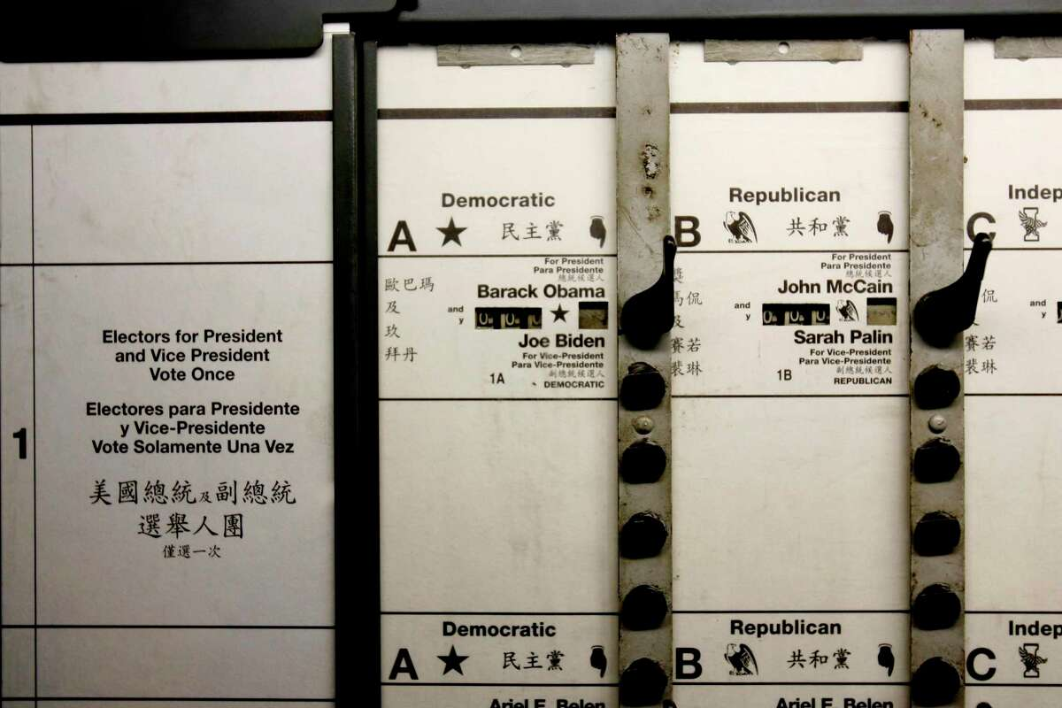 Presidential candidates are seen listed on the ballot of a voting machine at a warehouse in the Brooklyn borough of New York, Thursday, Oct. 30, 2008.