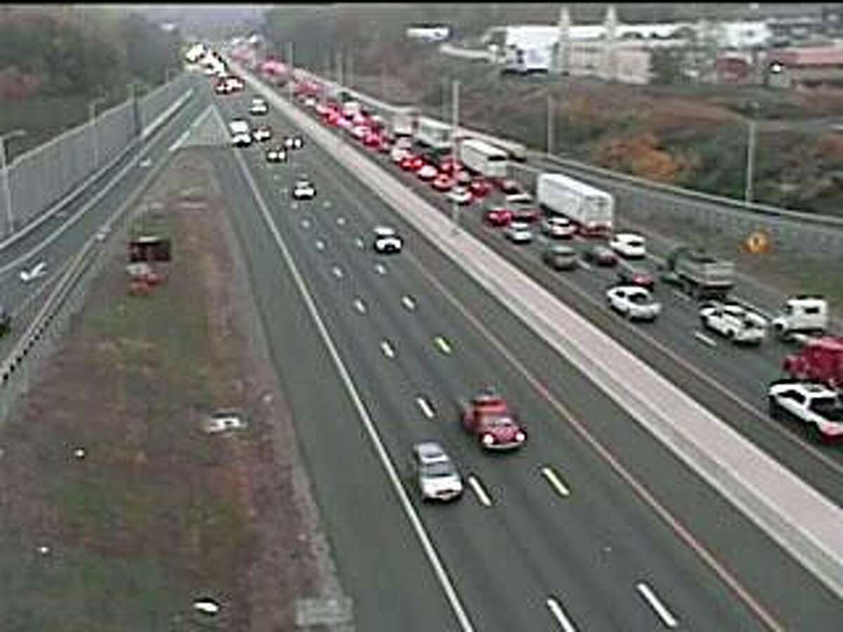 A multi-vehicle has closed two eastbound lanes of I-84 in Waterbury Friday morning on Oct. 23, 2020. The accident has closed the left and center lanes between exits 25A and 26.