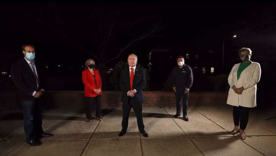 State Rep. Brian Farnen (R-132), Republican candidate for the 133rd District assembly seat Joanne Romano-Csonka, FOP President John Krupinsky, State Sen. Tony Hwang (R-28) and State Rep. Laura Devlin (R-134) in a video announcing the FOP endorsement of Fairfield Republicans running for state office. Photo: LaBella, Joshua /