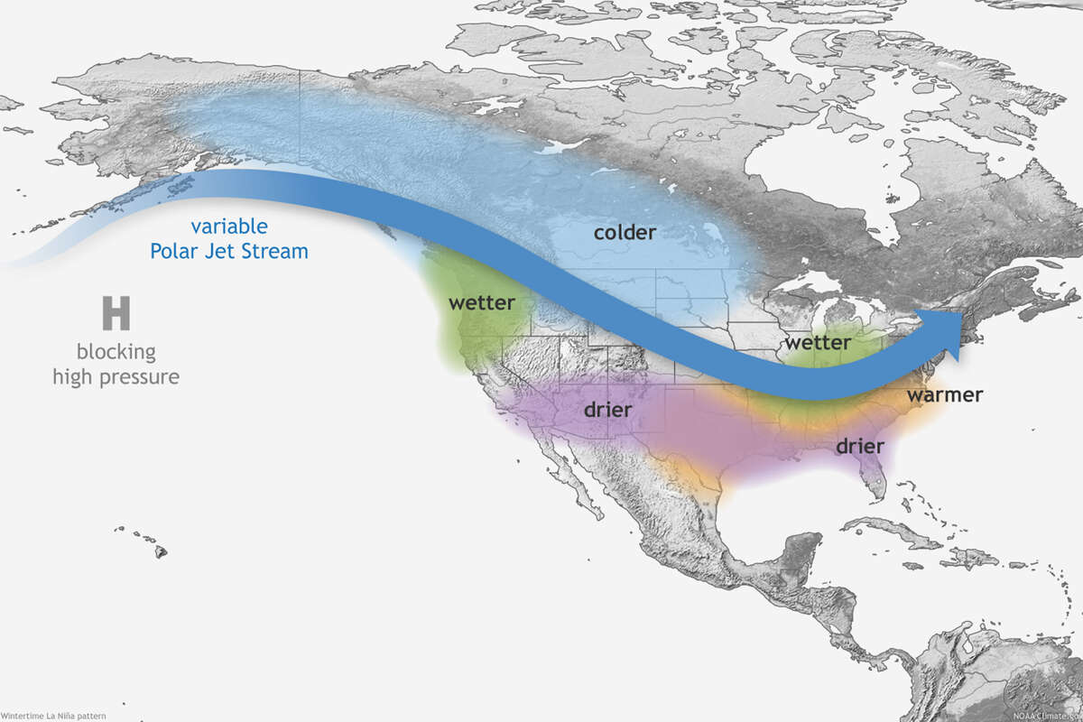 The winter forecast from the National Oceanic and Atmospheric Administration favors drier, hotter weather in the southern part of the United States, and colder, wetter conditions to the north, for December 2020-February 2021, in part due to La Niña.