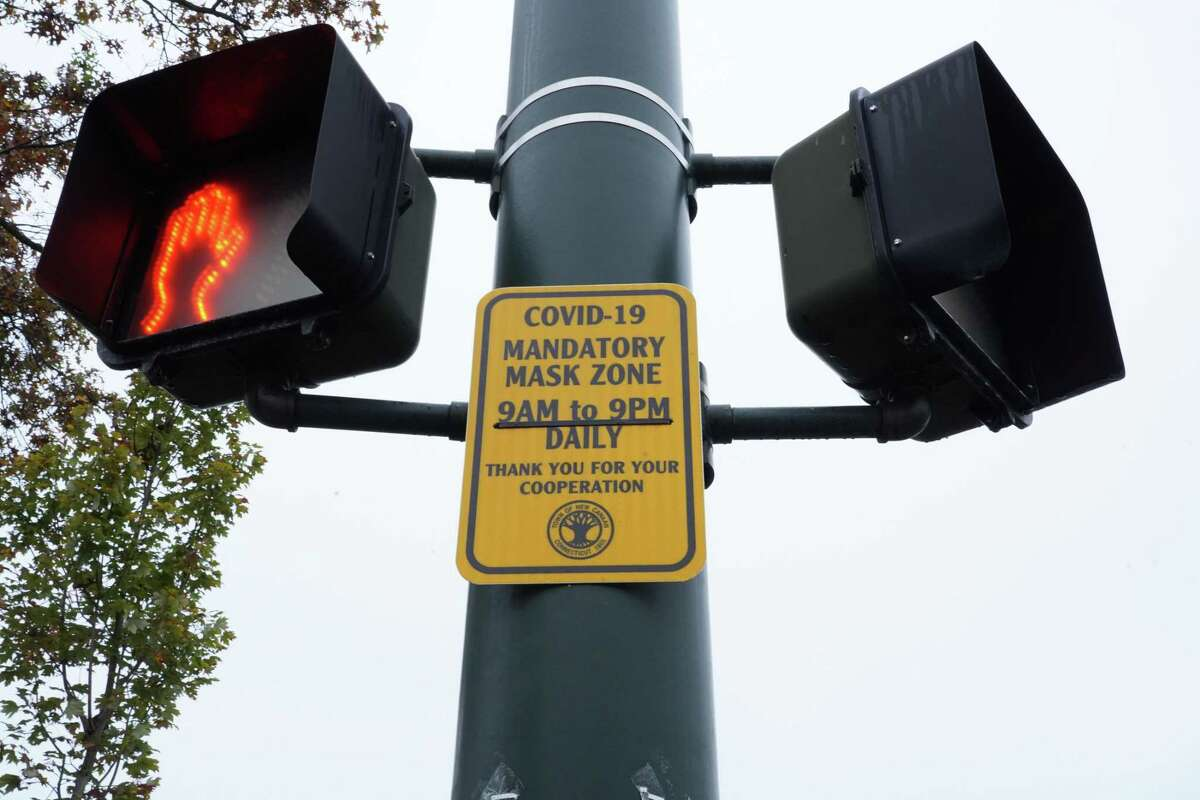 New Canaan is posting new signs to require mask wearing, some were already hung by Thursday, Oct. 22, 2020.