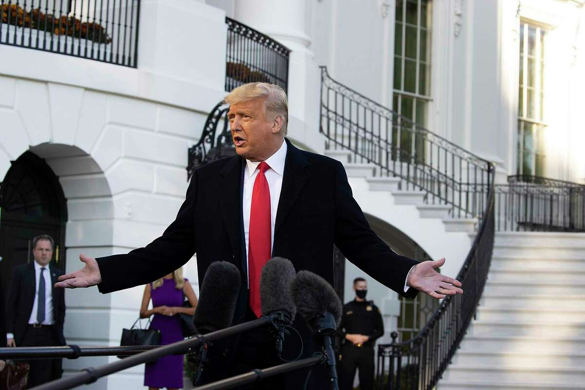 U.S. President Donald Trump talks to the media outside the White House on October 21, 2020 in Washington, DC.