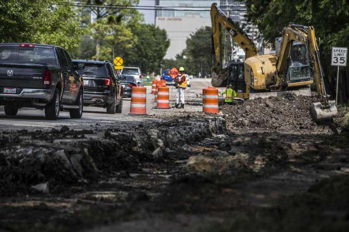Construction and potholes plague Richmond Avenue in Houston.
