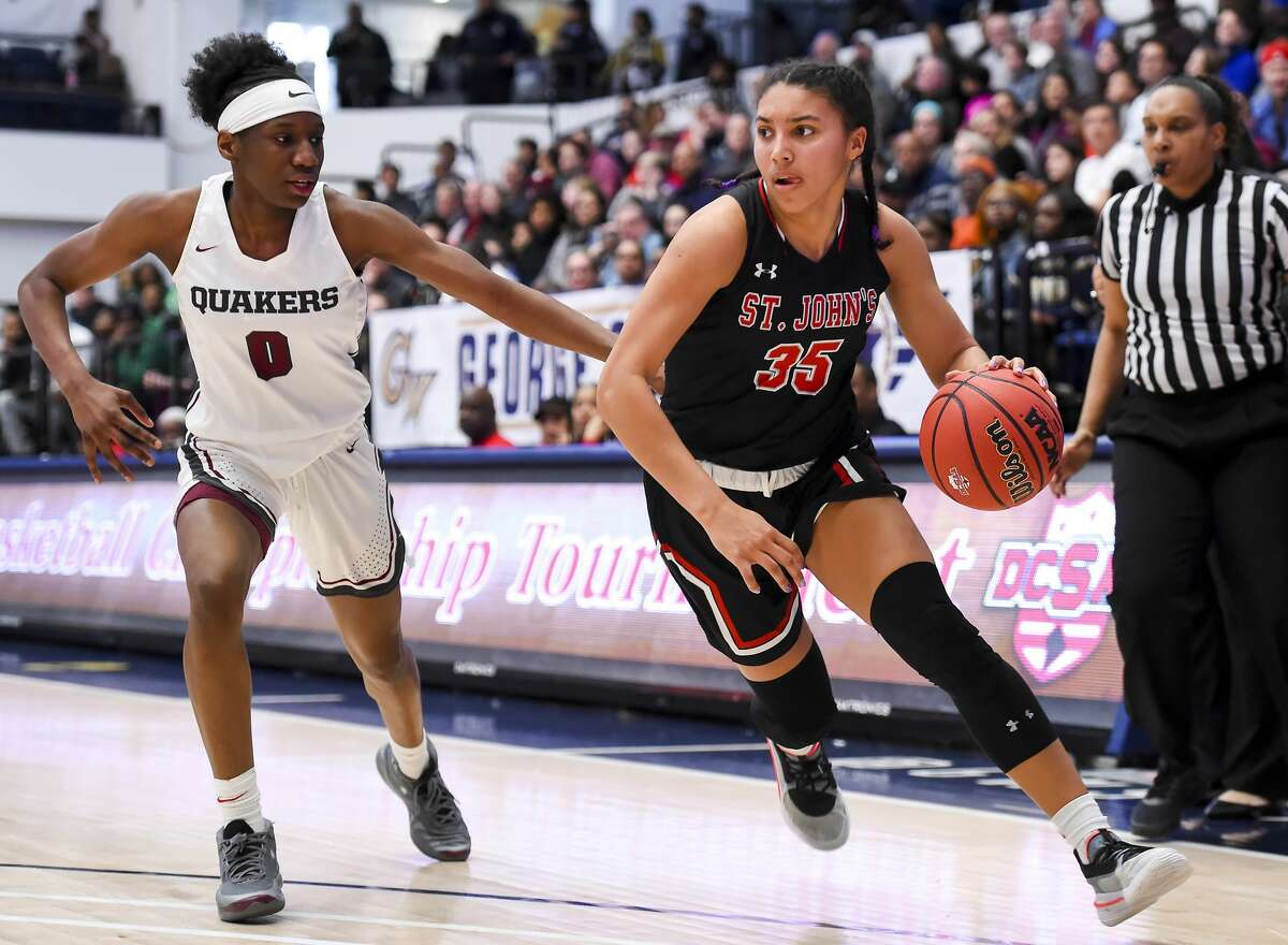 WASHINGTON, DC - MARCH 1: Azzi Fudd #35 of St. John's dribbles in front of Jadyn Donovan #0 of Sidwell Friends during the first half at George Washington University in Washington, DC on March 1, 2020. (Photo by Will Newton for The Washington Post via Getty Images)