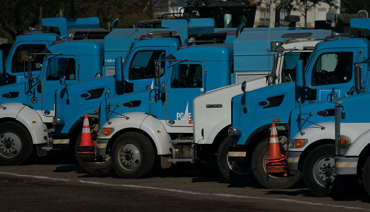 PG&E trucks at their temporary lot on the Silverado Trail on Thursday, Oct. 22, 2020 in Calistoga, Calif.