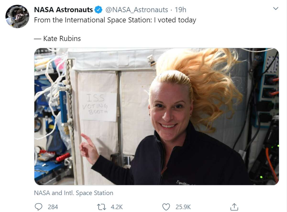 NASA astronaut Kate Rubin just shared the coolest voting story ever, casting her ballot from the International Space Station.