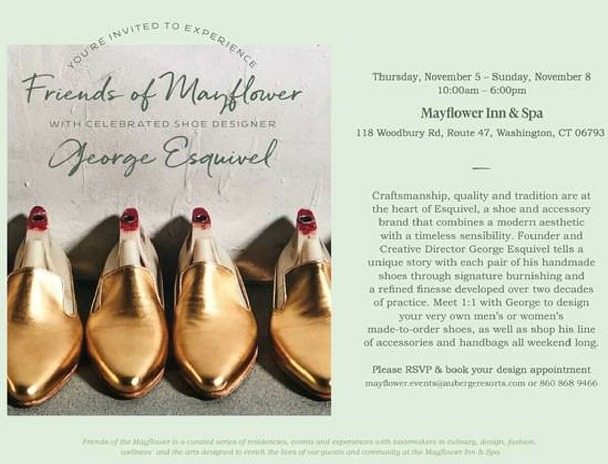 From November 5-8, the iconic Mayflower Inn & Spa, Auberge Resorts Collection in Washington will welcome shoe artisan George Esquivel of Esquivel Shoes.