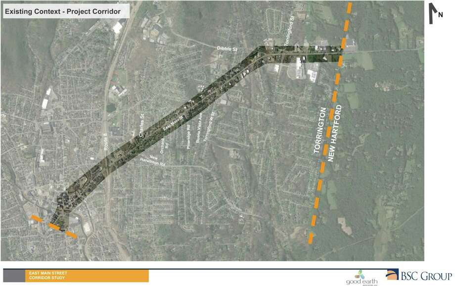 A map of the East Main Street/Route 202 corridor is being used for a city study, to determine safety needs, parking problems and traffic challenges. Photo: Good Earth Advisors / Contributed Photo