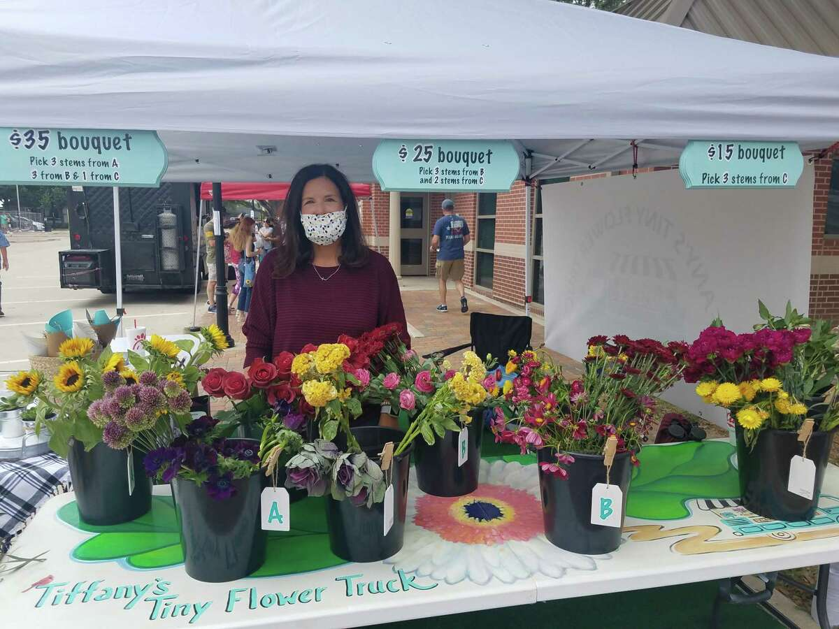 Tiffany Callicott sells handmade bouquets at Katy Market Day on Oct. 17, 2020.