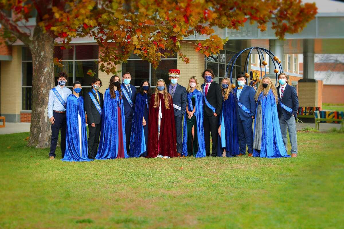 Pictured is the 2020-21 Midland High School Homecoming Court. From left are Jayce Boven, Claire Cline, Benjamin Bucci, Olivia McMath, Connor O'Malley, Cara Gallagher, Gabrielle Schloop Homecoming Queen, Chase Mahabir Homecoming King, Natalie Gaffke, Jarrett Wagner, Emma Rekeweg, Owen Hacker, Emily Mackenzie and Jordan Warner.