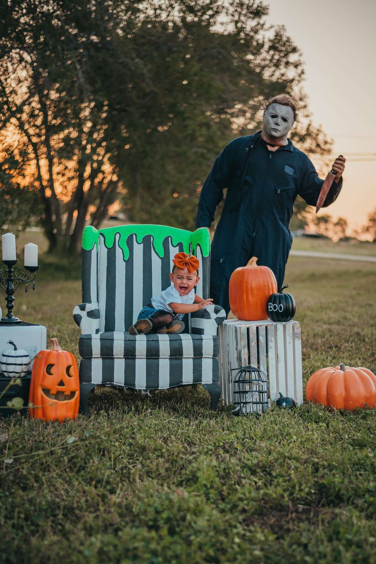 Alix said her daughter wasn't afraid of Myers, adding that she and her partner had to encourage their daughter to run away from the spooky man in the costume.
