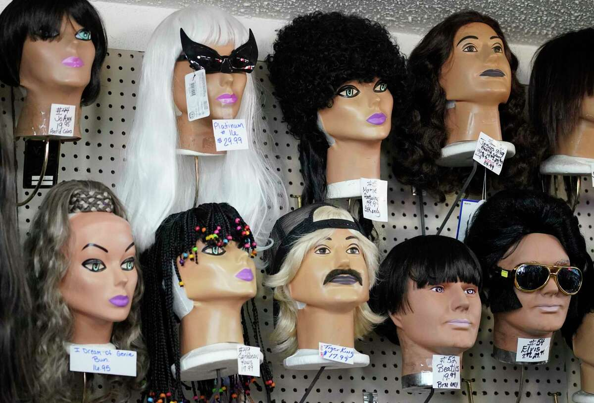A display of wigs is shown at Joe Sam's Fun Shop, 1612 East Southmore Ave., Thursday, Oct. 22, 2020 in Pasadena.