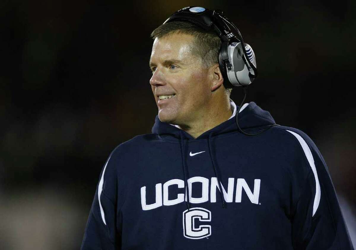 EAST HARTFORD, CT - NOVEMBER 03: Coach Randy Edsall of the University of Connecticut Huskies watches the action against the Rutgers Scarlet Knights at Rentschler Field on November 3, 2007 in East Hartford, Connecticut. (Photo by Jim Rogash/Getty Images)