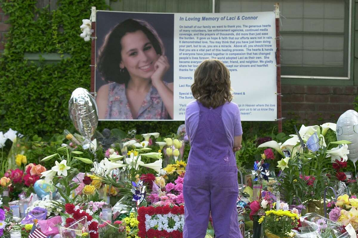 Sarah Kellison at a memorial for Laci Peterson in 2003. Peterson's husband, Scott, was convicted of killing her and their unborn son. Scott Peterson's penalty in in legal limbo now.