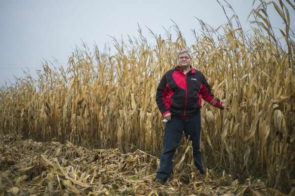 Aron Buechlur poses for a photo Friday, Oct. 23, 2020 in a corn field on the farm he owns about 10 miles north of Auburn in Bay County. (Katy Kildee/kkildee@mdn.net)