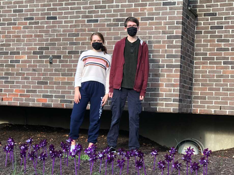 Wilton High School Teen PeaceWorks members Jeanette Rosenthal and Justin Rosenthal, participated in placing 77 purple pinwheels in front of Wilton police headquarters. Photo: Teen PeaceWorks / Contributed Photo / Wilton Bulletin Contributed