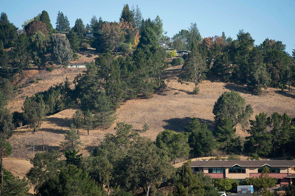 Homes near the Lafayette Reservoir in Lafayette are shown Friday. The entire Bay Area is under a red flag warning, and Lafayette expects PG&E shut-offs starting Sunday.