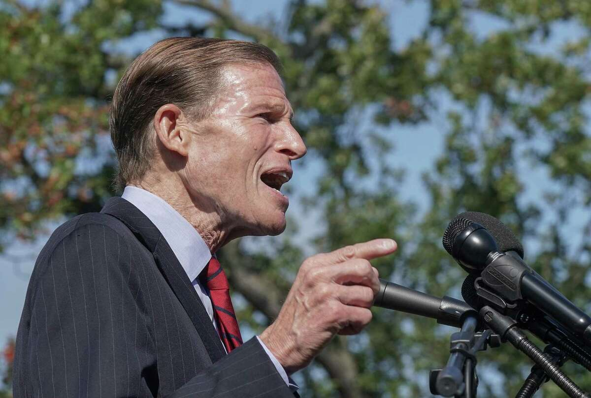 WASHINGTON, DC - OCTOBER 22: Senator Richard Blumenthal speaks during a protest calling for the Republican Senate to delay the confirmation of Supreme Court Justice Nominee Amy Coney Barrett at the U.S. Capitol on October 22, 2020 in Washington, DC. (Photo by Jemal Countess/Getty Images for Care In Action)