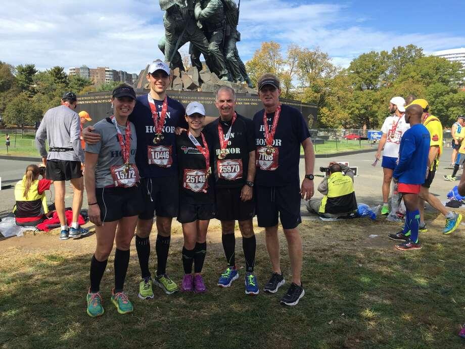 Friends and family of Patrick Wayland -- Paige Newton, from left, Kevin Newton, Danielle Owen, Matt Moury and David Wayland -- ran in the 2015 Marine Corps Marathon. Photo: Courtesy Photo