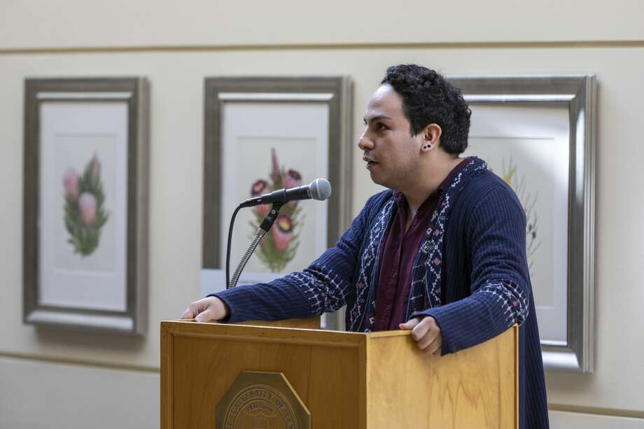 "Maximilien Vis III talks about ""Staging the Vampire: Performing Genre and the Gothic"" during the vampire lecture series on Oct. 31, 2019 at the University of Texas Permian Basin. Vis is among presenters at this year's symposium. Photo: Jacy Lewis/Reporter-Telegram"