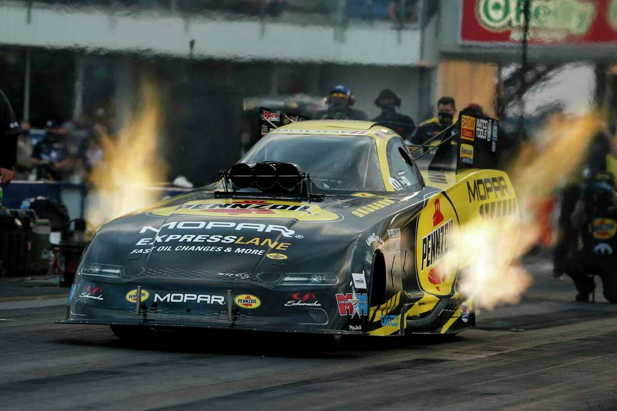 Matt Hagan, racing at the Fall Nationals last week, is the points leader in Funny Car and wil be racing in Baytown this weekend.